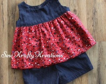 Little Girl's 2 Piece Set - Denim with Red, White & Blue Star Print and Denim Cotton Shorts