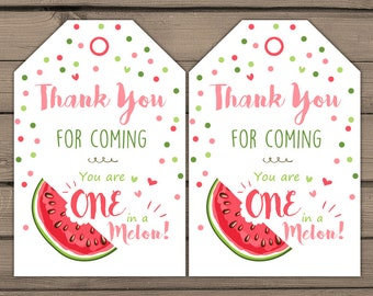 Watermelon Party Favour Tags Watermelon Birthday Thank you tags Watermelon Party Thank You Tags Favor tags One in a melon PRINTABLE DIY