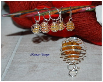 stitch marker nature amber snag free knitting tools amber stone