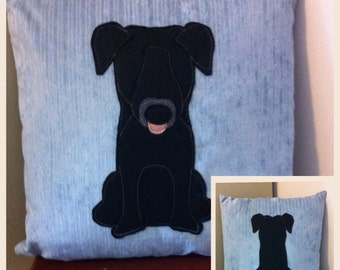 black Labrador - pale blue soft  reversible Cushion with a tail