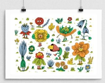 Flower Folk Print / poster / wall art