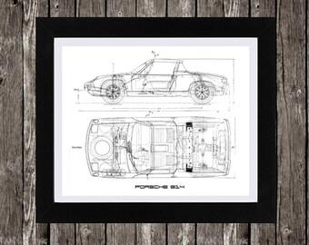 """Porsche 914 Art, Automotive Art, Porsche 914 Blueprint, Porsche, Instant Download, Porsche Art, Wall Decor, Porsche Decor, 14x11"""", 8x10"""""""