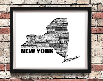 """Map of New York State, Printable Art, Typographic Map, New York State Map, NY,  Word Art, Wall Art, Black, White, Typography, 8 x 10"""""""