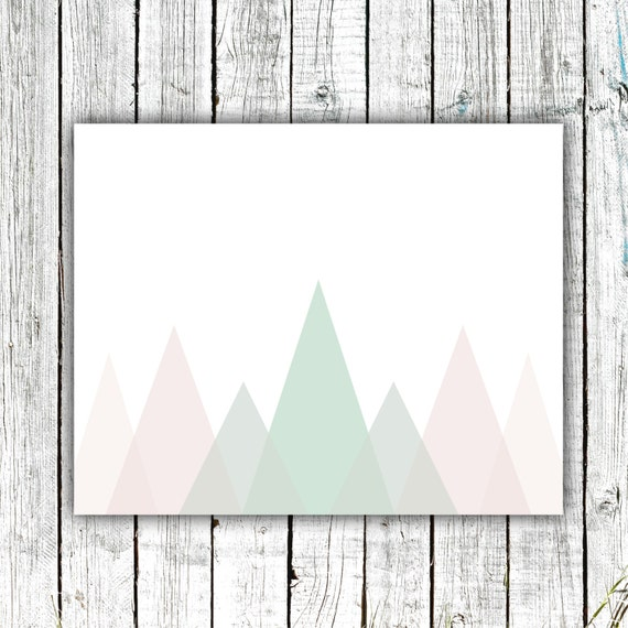 Nursery Art Printable, Mountains, Modern, Pastels, Mint, Rose, Digital Download Size 8x10 #566