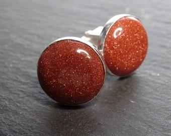 Sterling silver cufflinks. Bar, gemstone 20mm