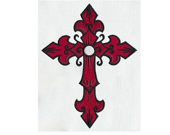 Embroidered Patch / applique - tattoo cross - sew or glue on 3 x 4 inch ANY COLORS