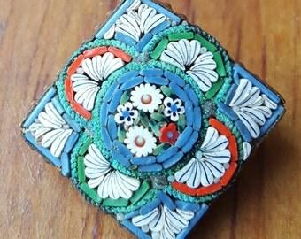 Vintag Micro Mosaic Pin-Italy, Vintage Italian Brooch, Glass Pin, Vintage Mosaic Pin