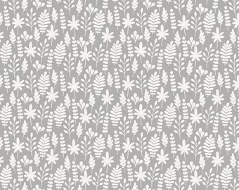 Gray and White Ferns Organic Fabric - By The Yard - Boy / Girl / Gender Neutral