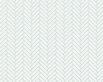 White and Mint Classic Herringbone Organic Fabric - By The Yard - Girl / Boy / Neutral