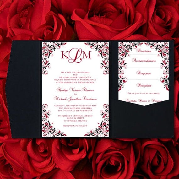 red and black wedding invitations kaitlyn apple on red and black pocketfold wedding invitations