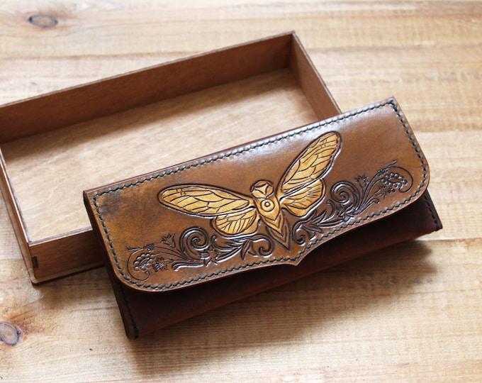Leather longwallet/bohemian style/cicada/leather wallet/boho wallet