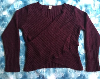 90s burgundy chunky wrap top / one size