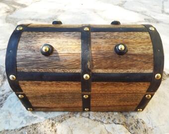 Box Vintage Chest Handmade Wooden Treasure Chest Jewelry Trinket Antique Vintage Gothic Dark Studded