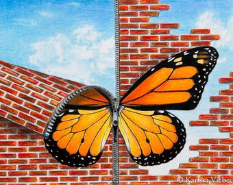 SALE - 40.00 off - Brick Butterfly colored pencil print FREE SHIPPING