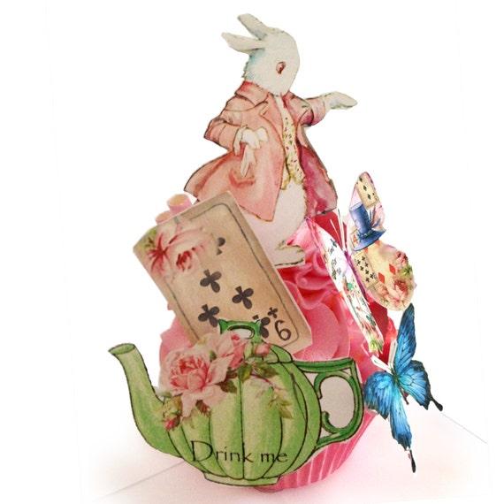 Edible Cake Decorations Alice In Wonderland : Alice in Wonderland Edible Image Cupcake Toppers ...