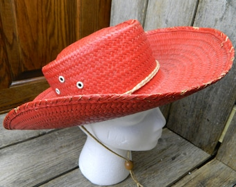 Vintage Mid Century 1950's Child's Red Straw Cowboy Hat