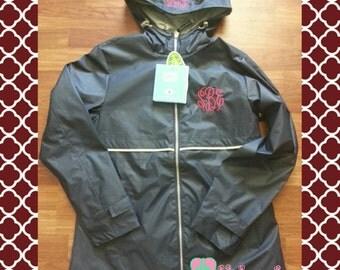 Monogrammed BLACK Rain Jacket , Rain Jacket with FREE Monogramming