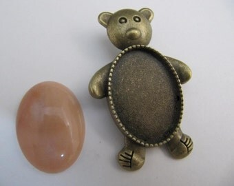 Cabochon Bezel Teddy Bear, 25x18mm, Glue In, Antique Brass, Lapidary Supply, Cabochon Setting, Rock Hounds, Rock Clubs