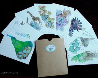 Succulent and Animals postcard,nature,forest,cottage,greeting cards (set of 8)