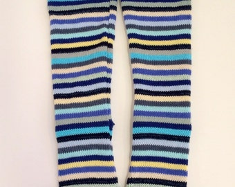 Fresh blue stripes all cotton knitted women's slouch socks to fit UK size 4-6, Eur 37-39 vegan