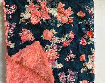 navy Floral Nursery, Coral Nursery, Baby Blanket, Turquoise, Minky Baby Blanket, Floral baby blanket, floral, modern nursery, gift,