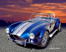 Auto Art, Shelby 427s Cobra, Classic Car Print, Sports Car Print, Super Car, Office Decor, A42
