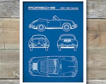 Patent Print, Porsche 356C Cabriolet Blueprint, Porsche 356 Poster, Porsche 356 Art, Porsche 356 Decor, P352