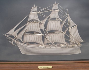 Vintage Ship Picture Turner Wall Accessory Shadow Box 3D Picture of The Golden Eagle Ship Nautical Sailing Ship Wall Hanging