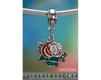 Sterling Silver Red Rose Charm or European Style Charm Bracelet .925