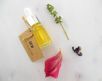 DEW trial size (0.3 oz) | fine facial oil of argan, rosehip, rose & immortelle | normal, dry, mature skin | vitamin c face serum