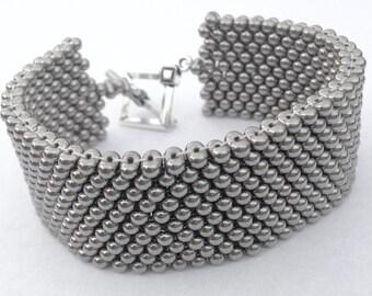 Nickel Plated Beaded Cuff Bracelet