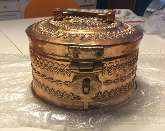 Beautiful antique tinned copper repousse paan dan, (betel box), large, complete and in excellent condition!
