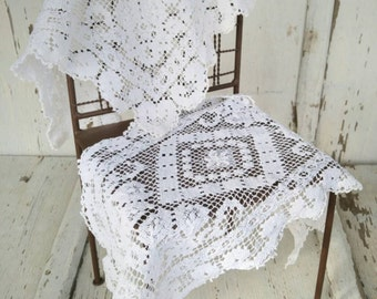 Vintage White Crochet Rectangle Doilies Set of 2