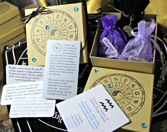 Boxed Zodiac Crystal Astrology Grid Collections - All 12 Zodiac Signs