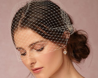 Bridal Birdcage Veil White Wedding Veil Bridal Blusher Veil Fascinator Veil bachelorette veil  French net veil masquerade veil