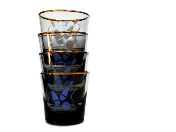 Retro Bowling Glasses, Smokey Glass, Gold Rims, Frosted Bowling Image