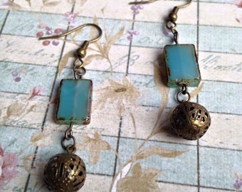 Blue Glass Picasso Finish & Round Filigreed Spacer Bead Earrings
