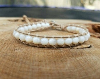 Chan luu Style Wrap Bracelet On Natural Leather With 6mm White Shell Beads