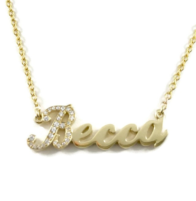 diamond initial cursive name necklace in 10kt yellow gold. Black Bedroom Furniture Sets. Home Design Ideas