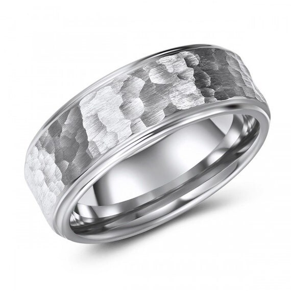 Hammered Comfort Fit Tungsten Wedding Or By IceGoldJewellery
