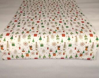 Christmas Table Runner, White Christmas Runner, 50 Inch Runner