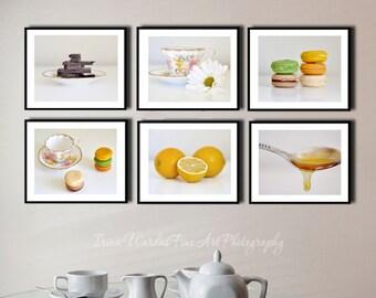 Dining room wall art, modern kitchen photography set 6 food art prints, kitchen pictures, restaurant art, still life food, foodie gift art