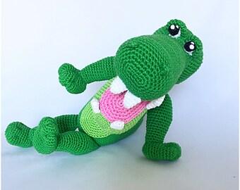 Crocodile crochet pattern amigurumi pdf tutorail in Dutch, Deutsch and English US-terms