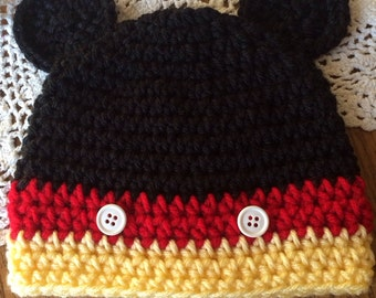 Baby Mickey Mouse crochet hat