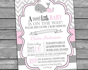Whale Baby Shower Invitation Girl Baby Shower Invite Nautical Pink Gray Stripes