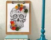 Sugar Skull Print with Felt Flowers (includes clipboard)