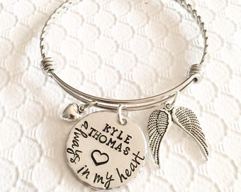 Memorial bracelet - Remembrance jewelry - Loss of loved one - Hand stamped memorial bracelet - Stainless steel bracelet