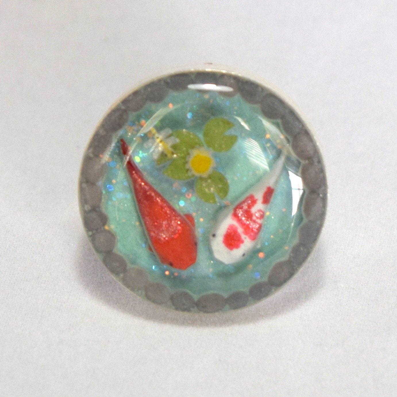 Miniature origami koi in resin pond round ring ii for Resin koi fish