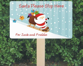Personalised Santa Stop Here Sign - Santa and Sledge - Christmas Decoration - Personalized Santa Sign - Festive House Design