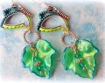 Lucite Earrings, Hand Painted Lucite Earrings, Leaf Earrings, Hand Crafted Earrings, Butterfly Earrings, Blue Green Earrings, Springtime
